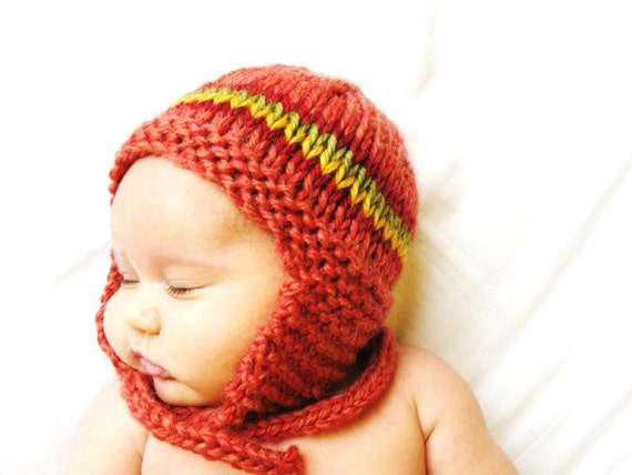 baby earflap hat and photo prop, handknit, ultra soft machine washable wool, size 6 to 18 months - papaya - ready to ship, natural fibers