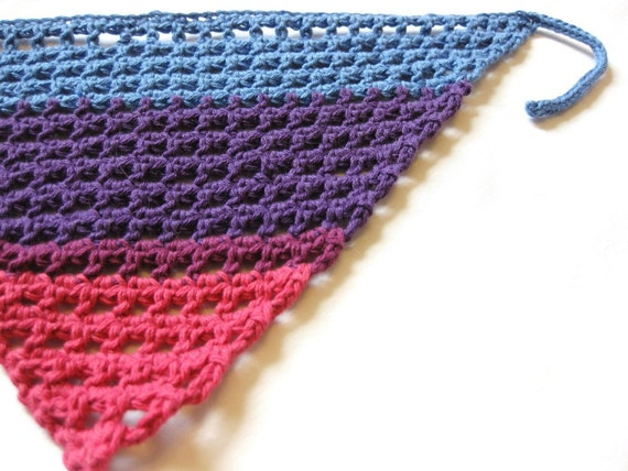 crochet hair kerchief with adjustable knit ties for women, girls ...