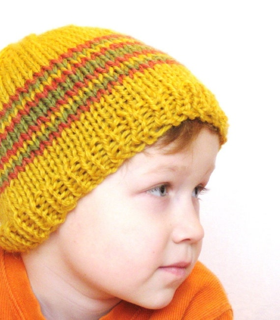 yellow knit hat - sunshine and citrus, honey with fern and papaya stripes, size kids 5T to small adult, ready to ship
