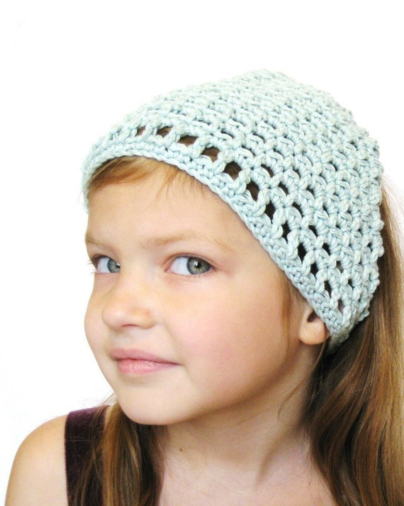 hair kerchief crochet bandana for women, girls, toddlers and teens - pale glacier blue hair covering, ready to ship