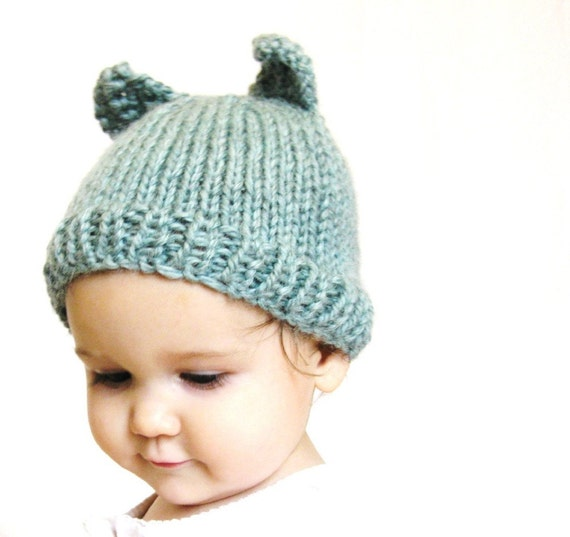handknit baby hat and photo prop - aqua blue kitty cat, size 3 to 9 months, all natural fibers, machine washable wool, ready to ship