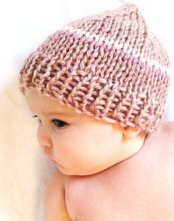 knit baby hat and photo prop - blushing pink with rose and cream stripes, 3 to 9 months, soft, natural fibers, ready to ship