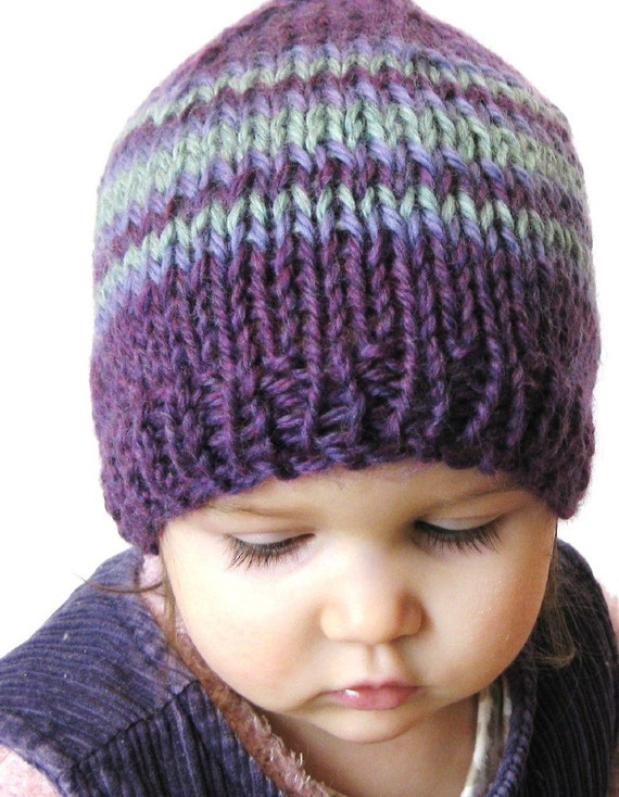 knit toddler hat and photo prop,18 months to 4T - plum, amethyst and aqua stripes, ready to ship