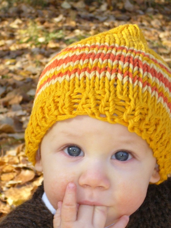 knit baby hat and photo prop, size 9 to 18 months, gold, orange and yellow stripes - ready to ship