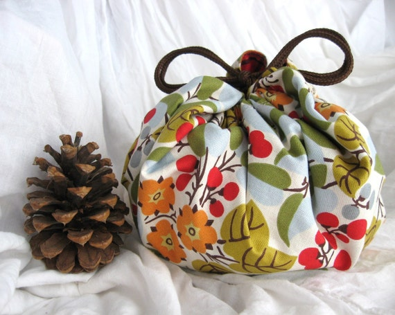 CHRISTMAS GOODY BAG - Garden Berry Plaid - Japanese Style Lunch and Goody Bag - red orange green