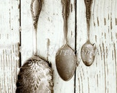 Silver Spoons Tarnished & Antique on White Chippy Table Wall Art Photography of 8x10 Print Ready to Frame