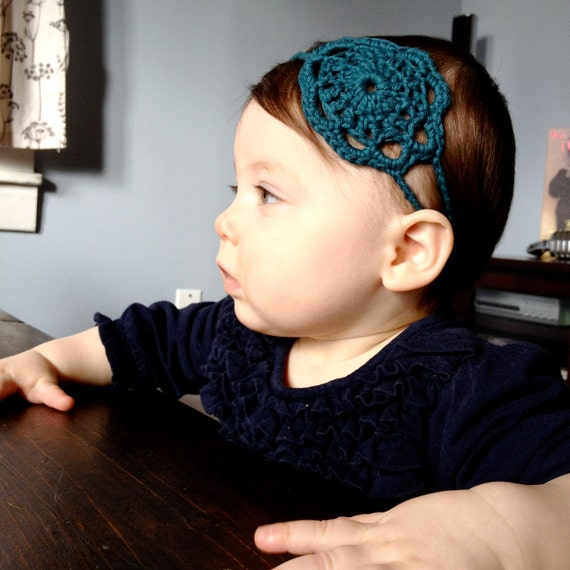 Hand Crocheted Dark Teal Doily Headband