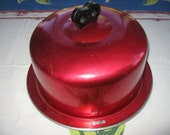 Vintage Red Anodized Cherry Red Aluminum Cake Saver Carrier Regalware
