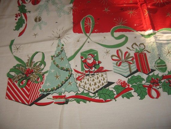 RESERVED Atomic Mod 50s Leacock Aqua Red Christmas Presents Tablecloth MINT Unused RESERVED