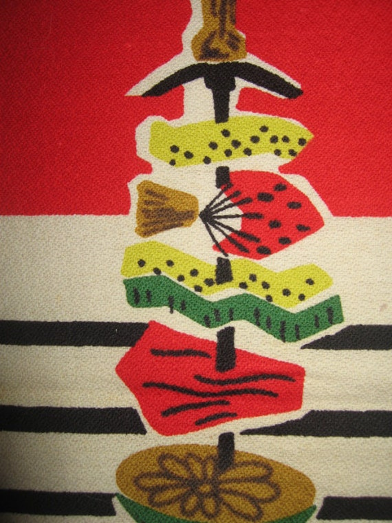 Vintage Fab 50s Atomic Mod  Veggie Barbeque BBQ Kitchen Towel MINT