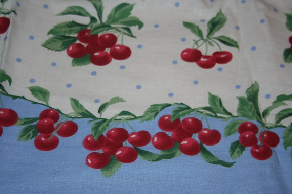 Vintage Style Daisy Kingdom Cherry and French Blue Fabric