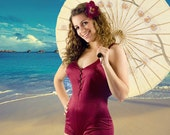 SALE Vintage 1970's Ultimate PIN-UP Girl Burgundy Swimsuit Bathing Suit