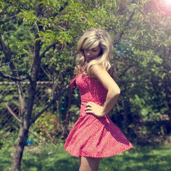 Vintage Retro Red Polka Dot Mini Dress