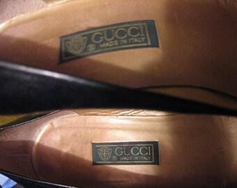Vintage Authentic Black Leather Gucci Pumps Women's Gucci High Heels Vintage Gucci Shoes 1980's Gucci Pumps