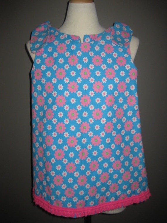 Vintage Little Girls Smock Dress With Bows Blue Pink and White with Pink Fringe