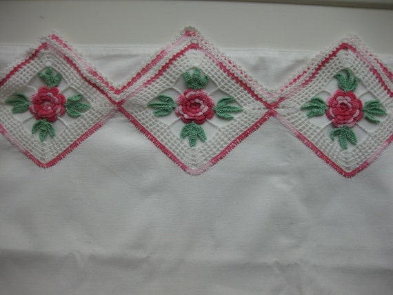 Hand Made Vintage Pillow Case Pink, Green and White Great for a Pillow Case Dress Dress