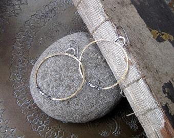 Large Forged Circle Hoop Earrings