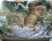 Bears Catching Fish In The Stream Double Panel Fleece Quilt 61x57 With Decorative Trim