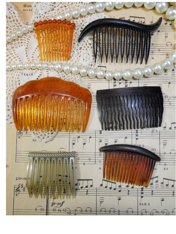Collection of Vintage Decorataive Hair Combs