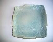 Ocean Blue Victorian Brocade Bread Dipping Plate