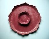 Ruby Red Swirl Roses Lotus Chip and Dip Set