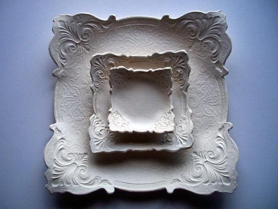 Set of 3 Wedding square plates