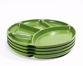 vintage avocado green divided snack plates . set of 4 Japanese Melmac trays . perfect for your next picnic