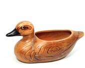 vintage rustic Relpo planter . terra cotta duck . ceramic decoy . faux bois . woodgrain finish