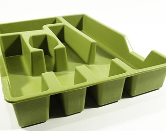 vintage avocado green silverware organizer by Loma Industries