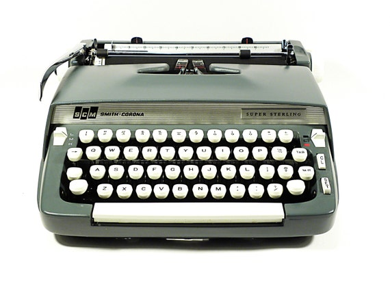 SUPER SALE vintage industrial typewriter . Smith Corona Super Sterling for back to school or secretary memories