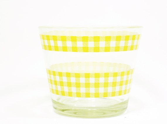 large vintage gingham glass bowl . super sunny yellow . 1960s picnic style