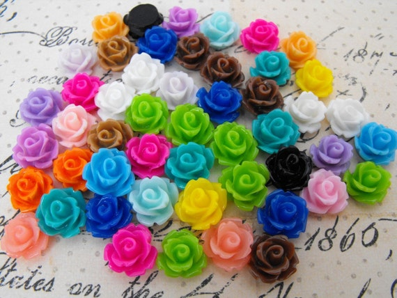 50 Pieces of Rose Resin Cabochons - 25 Matched Pairs