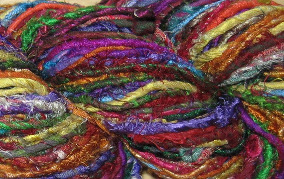 6.8 oz Handspun Recycled Uncarded Sari Silk Yarn, Fair Trade, 58 to 63 yards, 195 grams