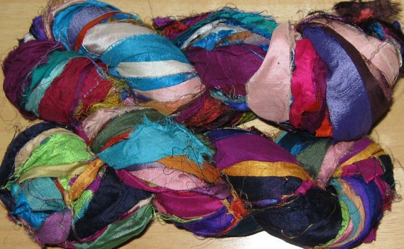 94 yards Silk Sari Ribbon Yarn, Recycled, Fair Trade, 6.9 oz, 195 grams