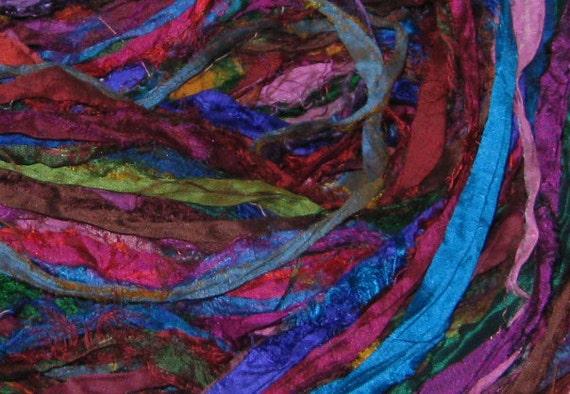 50 yards Recycled Silk Sari Ribbon, Fair Trade, 3.5 oz, 100 grams