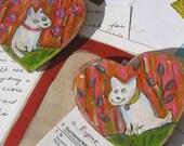 Dog Love Dog, hand-painted dog magnets (Set of 2)