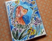 Dog Cards - Labrador With Wild Flowers -  Set of 4 Cards