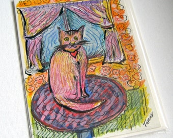 A cat sitting on the table by the window, Hand painted cards, Small Cat Artwork, Cat Lover Gifts, Cat Lady Gifts, Missing You, Heart Collar