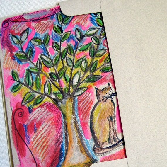 A Cat Under A Tree, Tree of Life and a Cat, Cat Art, Cat Painting, Ginger Cat, Hand Painted Card, Cat Lover Gift, Small Cat Artwork