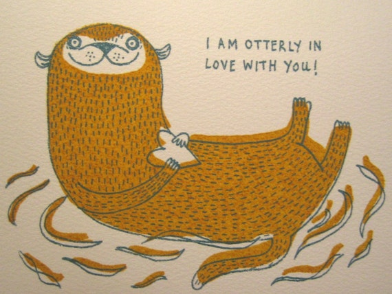 I'm Otterly In Love with You Handprinted Valentines Card