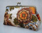 Vintage 70's Clutch Handmade bag, Floral Velvety design