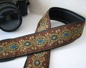 camera strap - JESSIE Brown and Turquoise Camera Neck Strap, Handmade