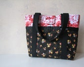 Black and Rose Quilted Purse with Magnetic closure