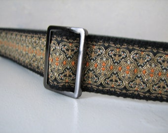 EVA - Ladies Belt, Black and Gold JAcquard Trim with Adjustable buckle Size Small