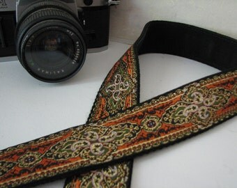 camera strap - AMBER renaissance style (Extended Length - NO branding)