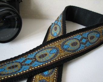 camera strap -  Turquoise Scroll Design, (Extended length) - ANNA