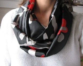 Black, Red and White Satin Infinity Scarf