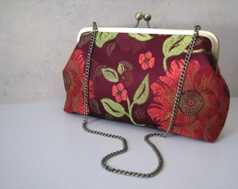 Handmade Wine Floral Convertible Clutch with strap