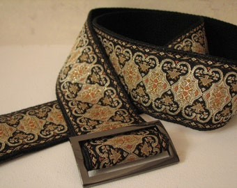 WIDE EVA BELT- Ladies Belt, Black and Gold JAcquard Trim with Adjustable buckle Size Small