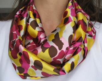 Infinity scarf  Spring Satin Mix loop scarf